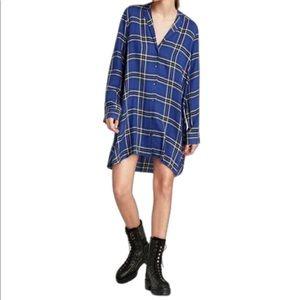 Zara Blue Plaid Oversized Tunic Flannel